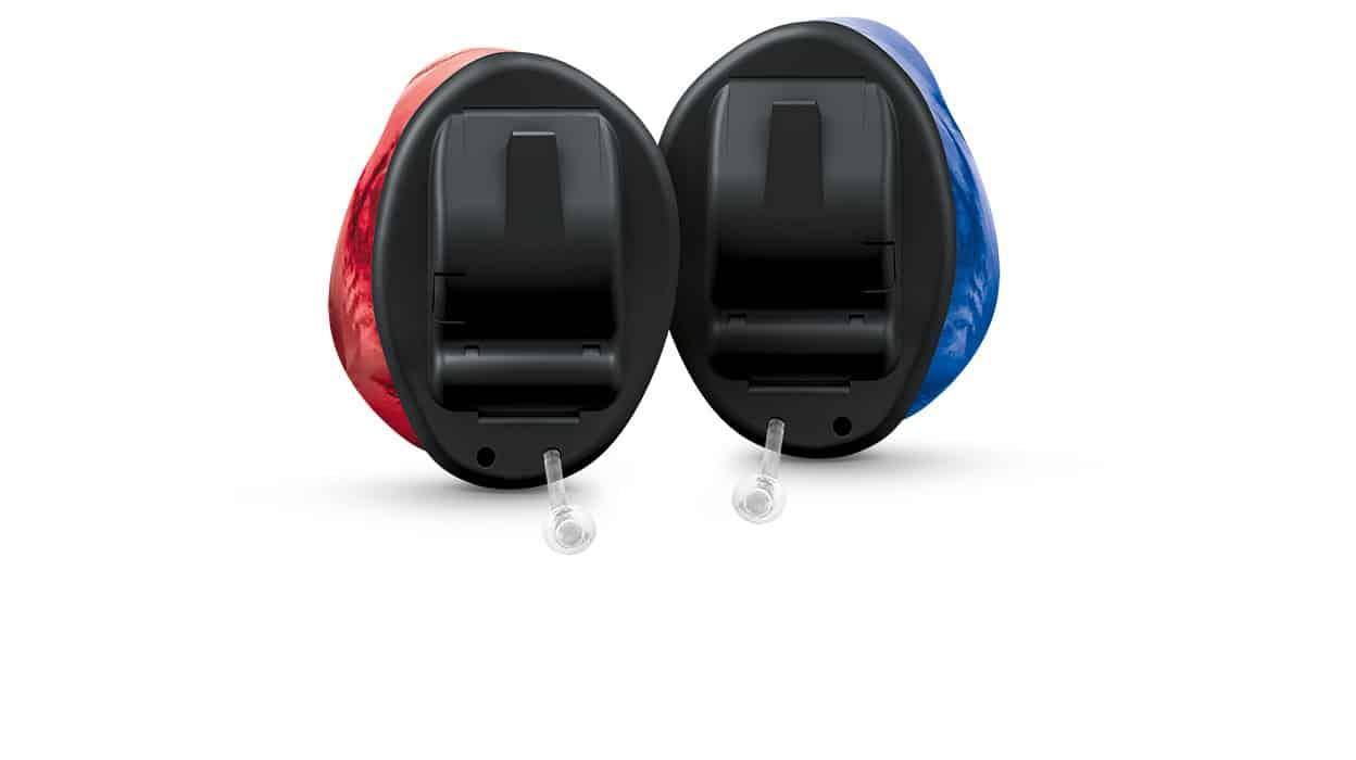 Insio IIC Nx black shell red blue couple 1248x700px - Hörgeräte - Produkte